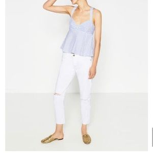 ZARA Blue and White stripe top
